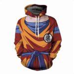 Son Goku Costume Outfit Orange Cosplay 3D Pocket Hoodie - Saiyan Stuff