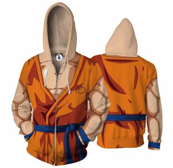 Son Goku Orange Costume Zip Up Cosplay 3D Hoodie