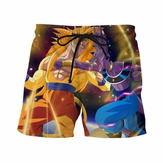 Super Saiyan 3 SSJ3 Goku Versus Fight Destruction God Beerus Shorts - Saiyan Stuff