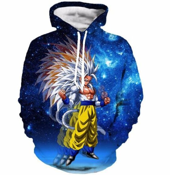 Super Saiyan 5 Goku SSJ5 Space Galaxy 3D Blue Fashion Hoodie - Saiyan Stuff