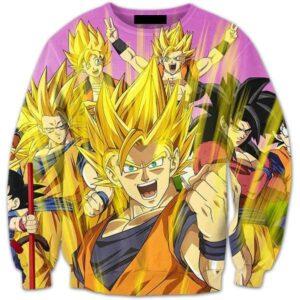 Super Saiyan Celebration Cool Happy Goku Yellow Aura 3D Sweatshirt - Saiyan Stuff