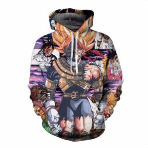 Super Saiyan Goku Battle Damaged Vintage Cracked 3D Hoodie - Saiyan Stuff