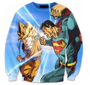 Super Saiyan Goku Versus Superman Battle 3D Sweatshirt - Saiyan Stuff