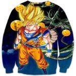 Super Saiyan Goku and Shenron Crystal Balls Blue DBZ 3D Sweatshirt - Saiyan Stuff