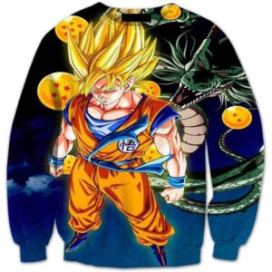 Super Saiyan Goku and Shenron Crystal Balls Blue DBZ 3D Sweatshirt - Saiyan Stuff