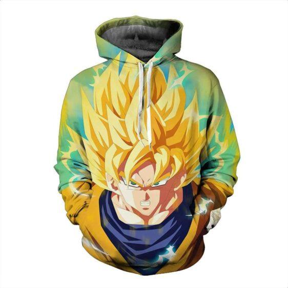 Super Saiyan Son Goku Blond Hair Yellow Aura DBS Full Print Hoodie