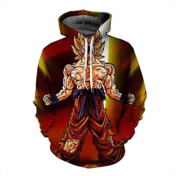 Super Saiyan Son Goku Body Damaged Battle Rage 3D Red Hoodie