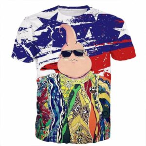 The Notorious B.I.G. Biggie Hip Hop DBZ Buu US Flag T- Shirt - Saiyan Stuff - 1