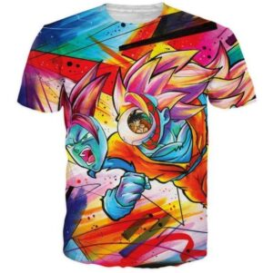 Tie Dye Graffiti Dragon Ball Goku SSJ3 3D T-Shirt - Saiyan Stuff