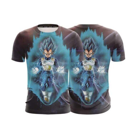 Dragon Ball Z Vegeta In His Blue Hair God Form Aura T-Shirt