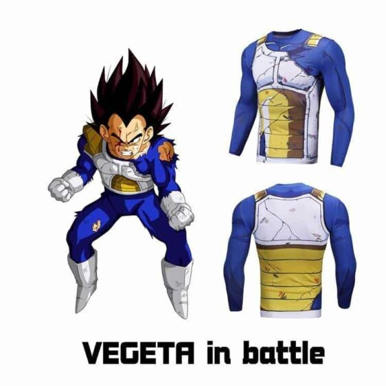 Vegeta Damaged Saiyan Armor Workout Long Sleeves Compression 3D Shirt - Saiyan Stuff