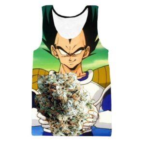 Vegeta Smokes Weed Ganja Marijuana Nug 3D Tank Top - Saiyan Stuff