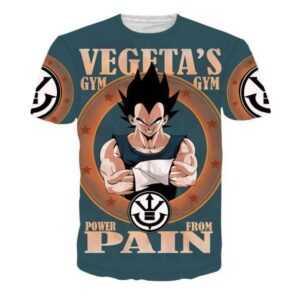 Vegeta's Gym Power From Pain Funny DBZ T-Shirt - Saiyan Stuff
