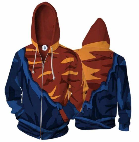 Vegito Damaged Costume Zip Up Cosplay 3D Hoodie