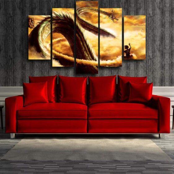 Shenron Dragon Flying Nimbus Goku 5pc Wall Art Decor Posters Canvas Prints
