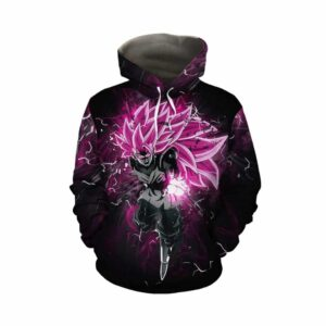 Dragon Ball Super Saiyan 3 Goku Rose Black Pullover Hoodie