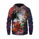 DBZ Smoking Kid Goku Outer Space Galaxy 3D Blue Hoodie