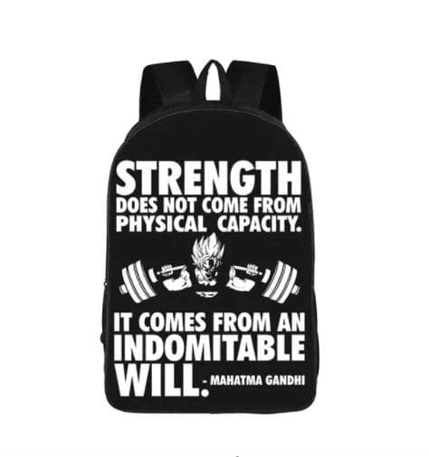 Goku Training Strength Quotes Motivation School Backpack Bag