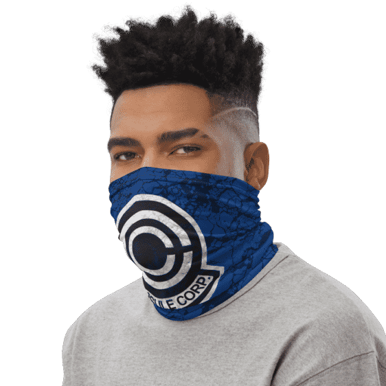 Dragon Ball Z Capsule Corps Grunge Blue Face Covering Neck Gaiter