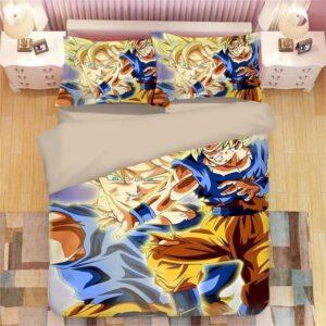 Super Saiyan Son Goku Bruised Fight Stance Bedding Set
