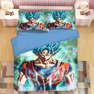 Dragon Ball Z Powerful Goku Super Saiyan Blue Bedding Set
