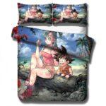 Adorable Bulma And Kid Goku Beach View Bedding Set