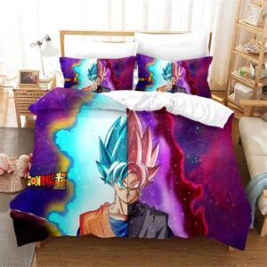 Half Super Saiyan Blue Goku Half Goku Black Rose Bedding Set