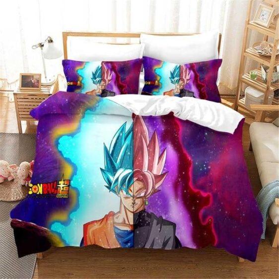 Half Super Saiyan Blue Goku Half Goku Black Rose Bedding Set
