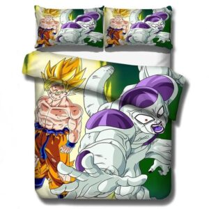DBZ SSJ1 Son Goku And Frieza Fight Scene Bedding Set