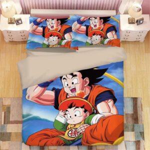 Son Goku And Kid Gohan Riding Flying Nimbus Bedding Set
