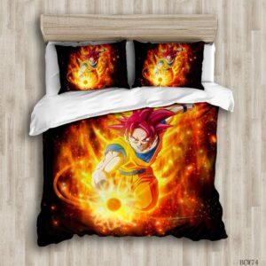 DBZ Son Goku Super Saiyan God Fire Aura Bedding Set