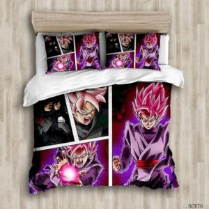 DBZ Zamasu Goku Black Rose Comic Style Bedding Set