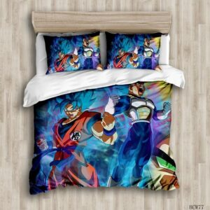 Fierce Son Goku And Vegeta Super Saiyan Blue Mode Bedding Sheet