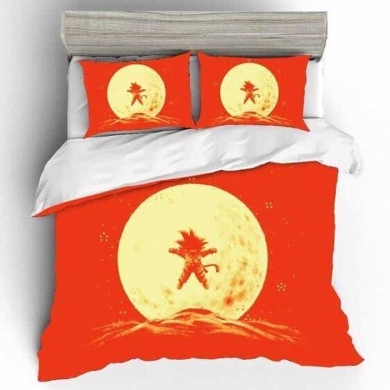 Dragon Ball Z Kid Goku Starry Full Moon Orange Bedding Set