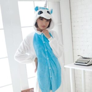 Kawaii Unicorn Kigurumi With Wings Blue Onesie Pajama
