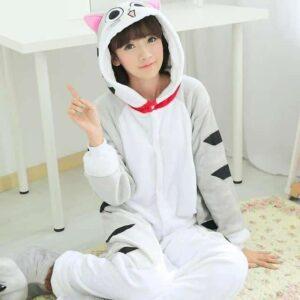 Adorable Cheese Cat Onesie Light Gray Kigurumi Pajama
