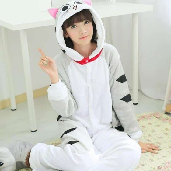 Adorable Cheese Cat Onesie Light Gray Kigurumi Pajama
