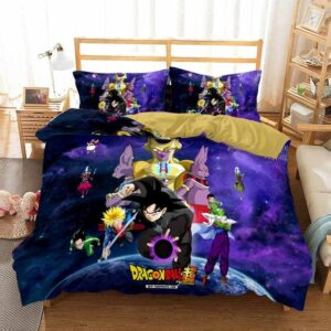 DBS Goku Black Frieza Beerus & Champa Purple Bedding Set