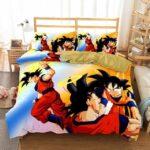 DBZ Son Goku With Halo Carrying Son Goten Bedding Set