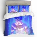 Topless Muscular Son Goku Ultra Instinct Blue Bedding Set