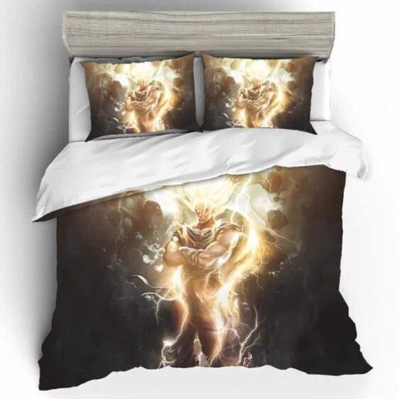 Cool Son Goku Powerful Saiyan Form Fan Art Bedding Set
