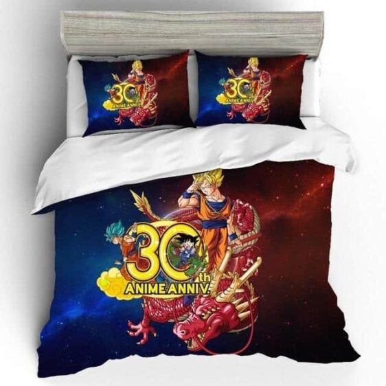 Son Goku SSJ1 Ultimate Shenron 30th Anniversary Bedding Set