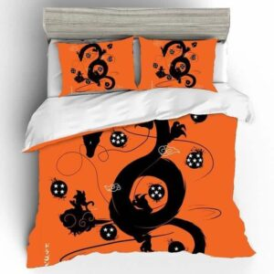 Shenron Goku & Dragon Balls Silhouette Orange Bedding Set