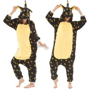 Unicorn Sun And Moon Kigurumi Black & Yellow Onesie Pajama