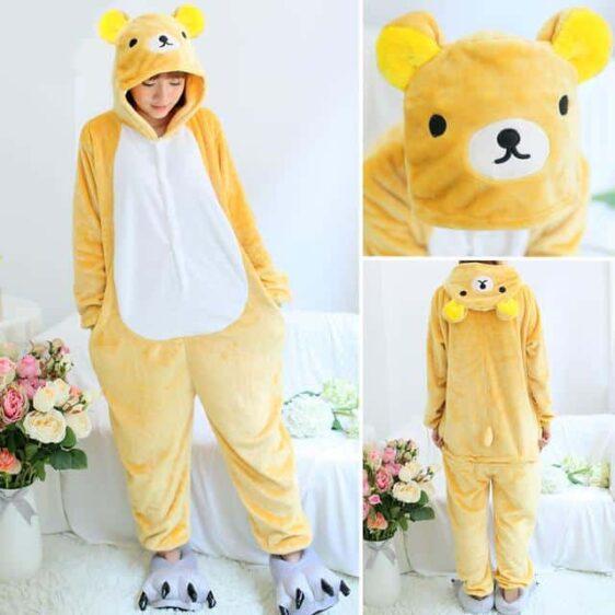 Simple Yellow Bear Onesie Costume Kigurumi Pajama