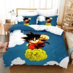 Dragon Ball Kid Goku Riding Flying Nimbus Vibrant Bedding Set