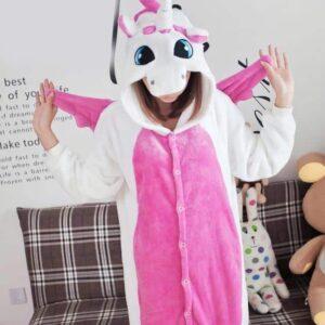 Pink Unicorn Onesie With Cute Wings Kigurumi Pajama