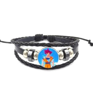 Red Hair Son Goku Super Saiyan God Leather Braided Bracelet