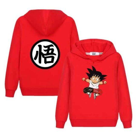 Jumping Kid Goku In His Training Suit Kids Long Sleeve Hoodie