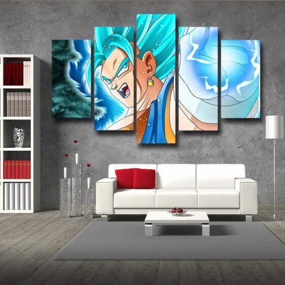 Dragon Ball Vegito Ki Blast Vibrant Fan Art 5pc Canvas Print